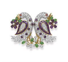 "A DIAMOND, RUBY, EMERALD AND AMETHYST ""LOVEBIRD"" DOUBLE-CLIP BROOCH, BY DAVID WEBB"
