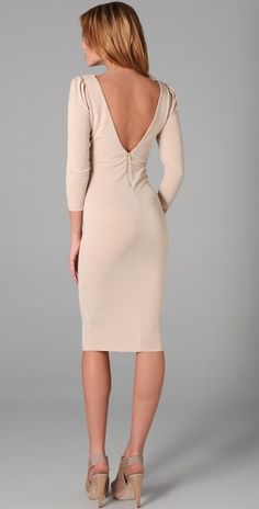 """Simple & sexy. Alice + Olivia """"Sonia"""" Side Zip Dress in Nude."""