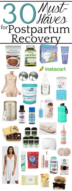 A shopping list gift guide for postpartum recovery to help with lactation, pain relief, hormonal side effects, stress-relief, and self-care to help mom quickly feel like her pretty self again. #postpartum #giftguide