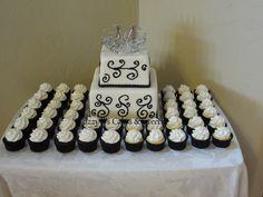Simple White & Black Wedding Cake with Matching Cupcakes
