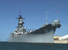 USS Missouri (BB-63, 'Mighty MO') in her present state as a national memorial afloat. She was the platform for the signing of the Japanese instrument of surrender in August 1945. She was declared a museum ship in 1998.