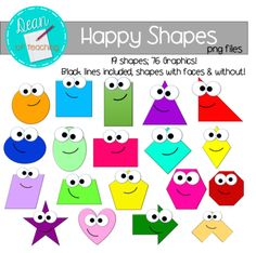 Happy Shapes: 2D Shape Clip Art FREE from Crystal Dean on TeachersNotebook.com -  (76 pages)  - Free clip art - 19 shapes in color, black & white, with happy faces or without!