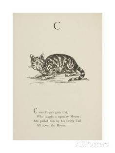 Cat Illustrations and Verses From Nonsense Alphabets Drawn and Written by Edward Lear. ジクレープリント