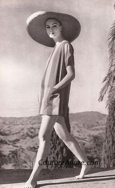 Greta Plattry striped cotton tunic length dress with matching shorts in green and blue stripes. 1958