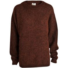 Acne Dramatic mohair knit sweater ($285) ❤ liked on Polyvore featuring tops, sweaters, rust, knit sweater, acne studios, brown tops, knit tops and mohair sweater