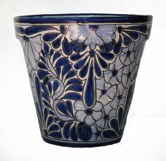 Ceramic Flower Pot 30cm - Blue & White - Hadeda Tiles