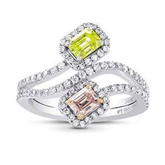 1.18Cts Pink Yellow Diamond Engagement Halo Ring Argyle Set in Platinum GIA	by Leibish & Co