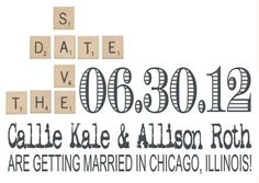 This Scrabble save-the-date is a total (triple letter) score for gay and lesbian lovers of the classic board game. It can be found at the Etsy store, DecorableDesigns (www.etsy.com/shop/DecorableDesigns). #gay #LGBT #wedding #invitations