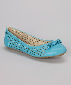 Love this Turquoise Cutout Bow Ballet Flat on #zulily! #zulilyfinds