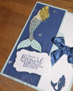 Tag Topper Side Fold Card, Magical Mermaid, Dekoratives Etikett, Gewellter Anhänger, Kartentechnikbuch 1, Stampin' Up, Kuestenstempel.blog