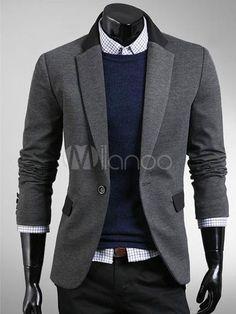 Gentle Deep Gray Cotton Men's Casual Suits