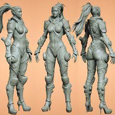 ArtStation - Sci-fi Female Armor, Damien Canderle Female Character Concept, Character Modeling, 3d Character, 3d Modeling, Fantasy Female Warrior, Female Armor, Armor Concept, Concept Art, Cyberpunk
