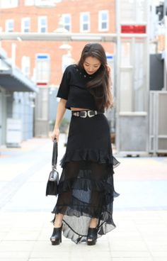 #Skirt #MaxiSkirt #BlackSkirt #Ruffle #RuffleSkirt #MeshDetail #Belt #LeatherBelt #DoubleBuckleBelt #WesternBelt #asos #Top #Tee #CropTop #BlackTop #BlackCropTop #ootd #onlineshopping #lookave #onlineshopping #streetstyle #style #fashion #outfit @sensiblestylist @asos