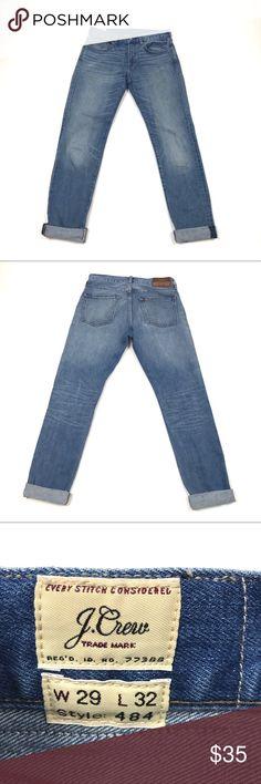 "J Crew 484 Skinny Boyfriend Jeans Size 29 J Crew 484 Boyfriend Jeans Light Wash Size 29  Wear with or without cuffs  Waist: 16""  Rise: 10""  Inseam: 28""  Condition: Excellent pre-owned condition. Jeans Boyfriend"