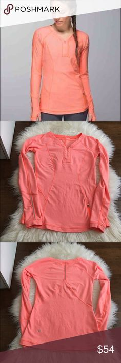 Lululemon Love some run LS Lululemon Love some run LS in beautiful coral color excellent condition, no flaws lululemon athletica Tops Tees - Long Sleeve