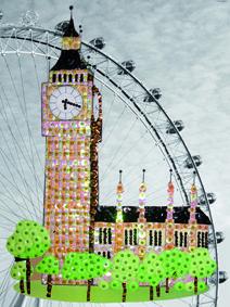 Big Ben of London Art En 2d, Travel Around The World, Around The Worlds, Pin Art, Big Ben, London, Sequins, Color, Board