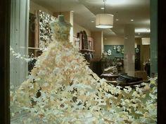 snowflake paper dress window display - Google Search