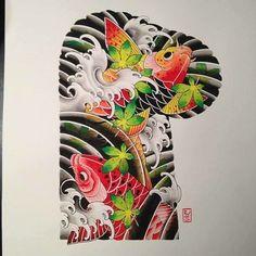 Koi Dragon Tattoo, Koi Fish Tattoo, Fish Tattoos, Koi Art, Tokyo Design, Japan Tattoo, Japanese Sleeve, Irezumi, Color Tattoo