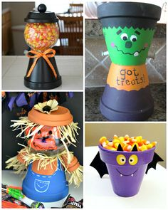 I rounded up my favorite Halloween crafts made from terracotta flower pots! They are adorable! Get the tutorial by clicking on the link below the photo. Flower Pot Mummy Clay Pot Spider Vampire Flower Pot Candy Dish (via Pinterest) Zombie Planted Hands Halloween Candy Jar Frankenstein Got Treats Pot Terracotta Pot Scarecrow Flower Pot Bat …
