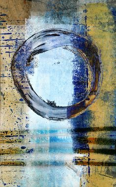 Enso Circle In Glass Abstract Print by Carol Leigh