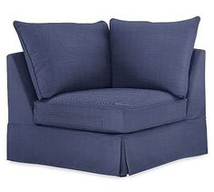 PB Comfort Slipcovered Corner, Knife Edge Down Blend Wrapped Cushions, Performance Tweed Navy