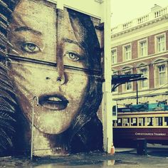 Rone street art in Christchurch New Zealand. Rone artist & Rone graffiti.