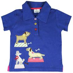 Kidswear Singapore @ Honey & Clover | Champion Pooches Polo Tee in Blue by Jumping Beans