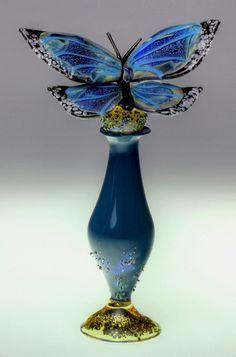 Loy Allen paperweight - Blue Morpho scent bottle. 2012 - #0300