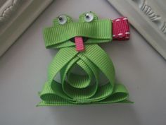 Frog+Ribbon+Sculpture+Hair+Clip.+Froggy+Hair+by+creationslove,+$3.50