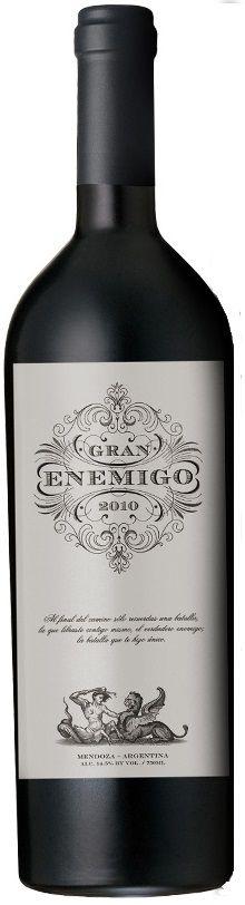 """Gran Enemigo"" 73% Cabernet Franc / 12% Cabernet Sauvignon / 10% Petit Verdot / 5% Malbec 2010 - Bodega Aleanna, Mendoza------------------------------Terroir: Gualtallary (Tupungato) & Agrelo (Luján de Cuyo)--------------- Crianza: 18 meses en barricas de roble francés y americano, 35% nuevas"