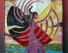 Native American Fancy Shawl Dancer, four directions, landscape, art quilt on canvas, home decor