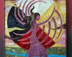 Native American Fancy Shawl Dancer, four directions, landscape, art quilt on canvas, home decor