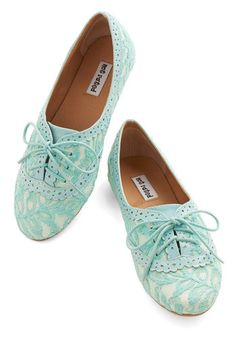 Joined at the Skip Flat in Aqua - Flat, Faux Leather, Woven, Blue, Tan / Cream, Lace, Casual, Spring, Summer, Good, Lace Up, Pastel, Variation