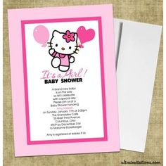 Hello Kitty Baby Shower Invitations #1 Hello Kitty Birthday Invitations, Baby Shower Invitations, Hello Kitty Baby Shower, Hello Kitty Themes, Diaper Shower, Girl Themes, Holiday Crafts, Baby Items, New Baby Products