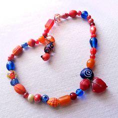 Bracelet, Lampwork Bracelet, Red Bracelet, boho chic, Stretch Bracelet, Glass Bead Bracelet, Chunky bracelet, Fun jewelry, Handmade jewelry
