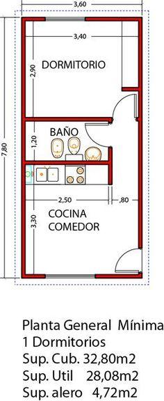 Vivienda de 1 dormitorio ampliable a 3 dormitorios en un futuro - Viviendas Tríade Studio Apartment Floor Plans, Apartment Plans, Small House Plans, House Floor Plans, The Plan, How To Plan, Tyni House, Mini Loft, Casas Containers