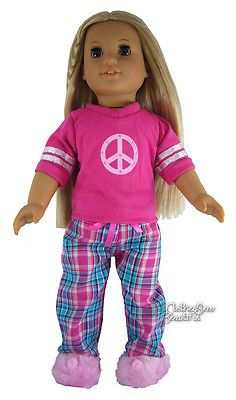 Hot-Pink-Teal-Peace-Pajamas-Slippers-for-American-Girl-Doll-Clothes