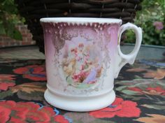 Antique Shaving Mug Shaving Cup Garden Scene by battenbeehive