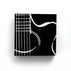 6 x 6 Acoustic Guitar Music Canvas (Black w/ White) Screenprint/Painting, Guitar Print, Music Wall Art, Black and White Home Decor
