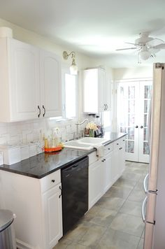 Kitchen White Galley With Black Appliances Small Storage Shabby Chic Style Large Furniture Landscape Contractors Electrical 91
