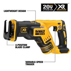 DEWALT XR Max Variable Speed Brushless Cordless Reciprocating Saw (Battery Not Included) at Lowe's. The MAX XR® compact reciprocating saw is a lightweight, compact saw designed to make cutting in between studs and in other tight Cordless Reciprocating Saw, Reciprocating Saw Blades, Wood Carving Chisels, Thing 1, Safety Switch, Lever Action, Wood Cutting, Variables, Working Area