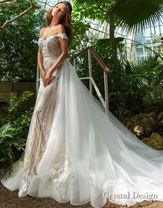 crystal design 2018 off the shoulder sweetheart neckline full embellishment elegant romantic fit and flare wedding dress a line overskirt chapel train (claudia) mv -- Crystal Design 2018 Wedding Dresses Beige Wedding Dress, Crystal Wedding Dresses, Fit And Flare Wedding Dress, Stunning Wedding Dresses, Wedding Attire, Wedding Bride, Bridal Dresses, Wedding Gowns, Bridesmaid Dresses