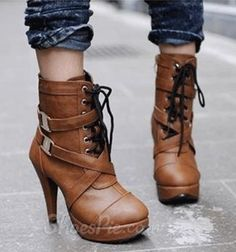 cool Fashionable Brown Coppy Leather Side Buckle & Lace-Up High Heel Boots