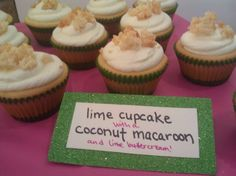 coconut macaroon baked inside a lime cupcake with lime buttercream. YUM! A perfect summer treat.