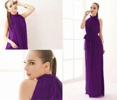 Dark purple chiffon dress maxi dress long by originalstyleshop, $49.90