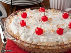 Best Ambrosia Pie - This #nobake pie is perfect for summer! Includes coconut, fruit cocktail, mini marshmallows, whipped topping, and more!