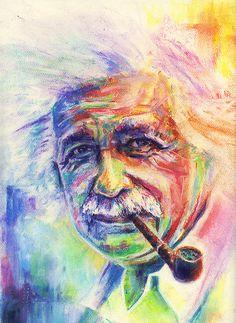 Albert Einstein in pastel.