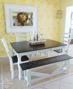 A DIY stenciled dining room accent wall using the Julia Allover pattern. http://www.cuttingedgestencils.com/julia-wall-stencil.html