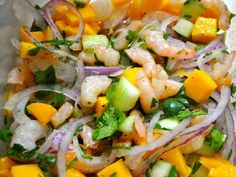 the cook in a hurry: shrimp ceviche and handle minutes) Seafood Dishes, Seafood Recipes, Cooking Recipes, Healthy Recipes, Cooking Time, Healthy Foods, Mexican Cooking, Mexican Food Recipes, Ethnic Recipes