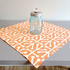 Orange Table Square  Premier Prints Aruba by homehaberdasher (Home & Living, Kitchen & Dining, Linens, Table Linens, Tablecloths, home dec, table runner, table decor, table square, table cloth)